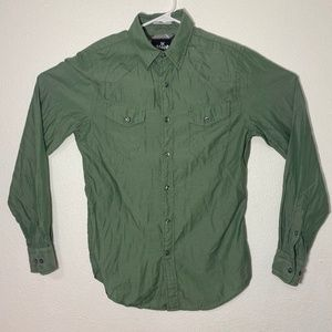 Express Mens Small Green Long Sleeve Button Up